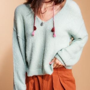 Free People Princess V Mint Green Sweater New